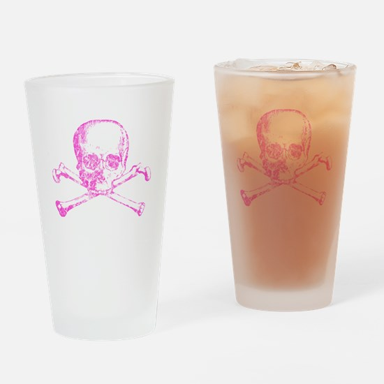 Pink Skull and Bones Drinking Glass