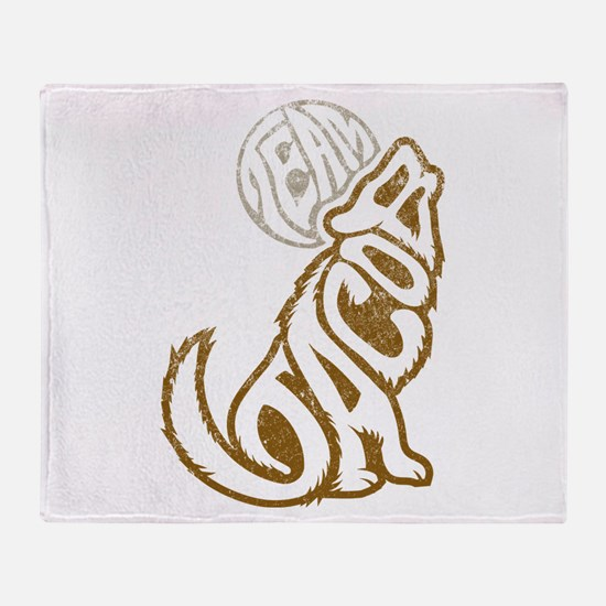 Jacob Wolf Lettering Throw Blanket