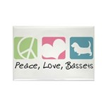 Peace, Love, Bassets Rectangle Magnet (100 pack)