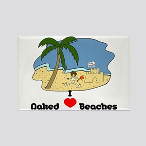 I Love Naked Beaches Rectangle Magnet