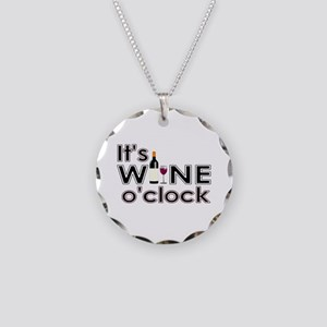 It's Wine O'Clock Necklace Circle Charm