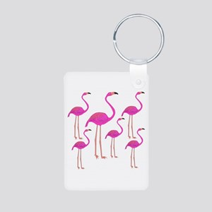 Flamingos Aluminum Photo Keychain