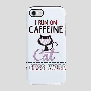 I Run On Caffeine T Shirt, Cat iPhone 7 Tough Case