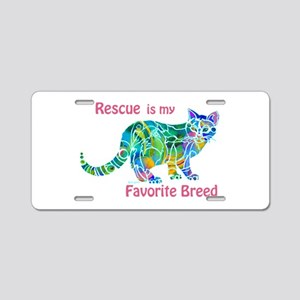 RESCUE is Favorite Breed CATS Aluminum License Pla