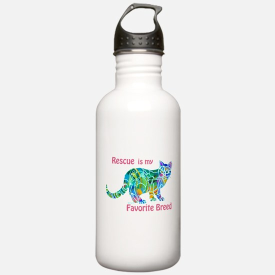 RESCUE is Favorite Breed CATS Water Bottle