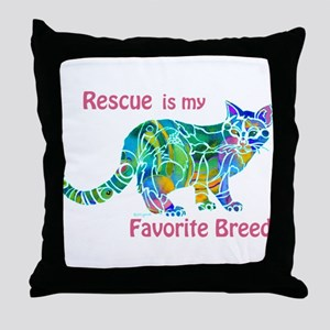 RESCUE is Favorite Breed CATS Throw Pillow