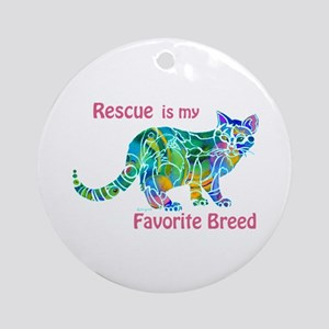 RESCUE is Favorite Breed CATS Ornament (Round)