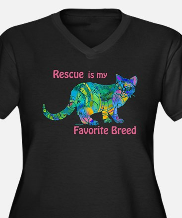 RESCUE is Favorite Breed CATS Women's Plus Size V-