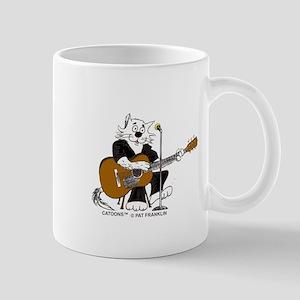 Accoustic Guitar Cat in BLACK Mug