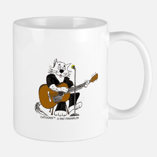 Accoustic Guitar Cat in BLACK Mug