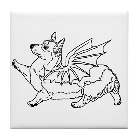 Welsh Corgon - Line Drawing - Tile Coaster
