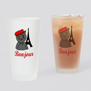 Bonjour Paris Drinking Glass