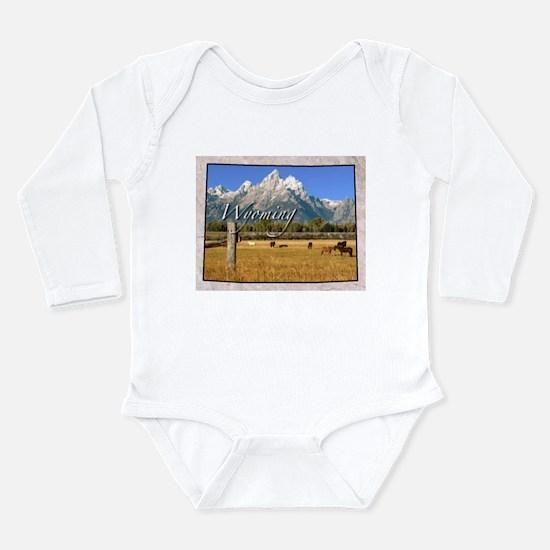 Cute Wyoming Long Sleeve Infant Bodysuit