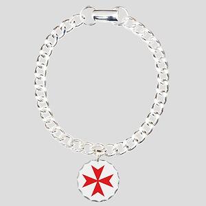 Red Maltese Cross Charm Bracelet, One Charm