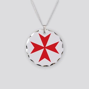 Red Maltese Cross Necklace Circle Charm