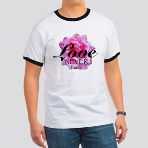 Love Never Fails_pink rose T-Shirt