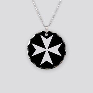 White Maltese Cross Necklace Circle Charm