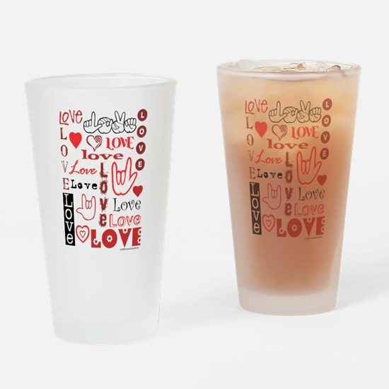 Love WordsHearts Drinking Glass