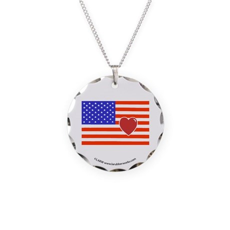 Heart Flag Necklace Circle Charm