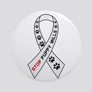Stop Puppy Mills Ribbon Ornament (Round)