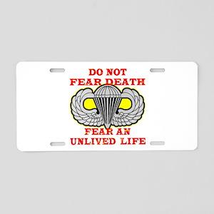 Airborne; Do Not Fear Death Aluminum License Plate