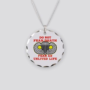 Airborne; Do Not Fear Death Necklace Circle Charm