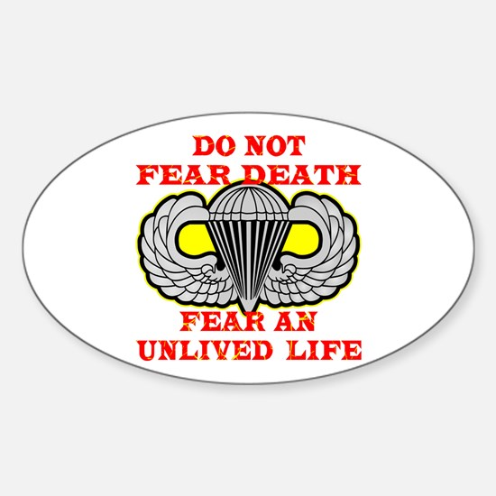 Airborne; Do Not Fear Death Sticker (Oval)