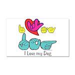 I-L-Y My Dog Car Magnet 20 x 12