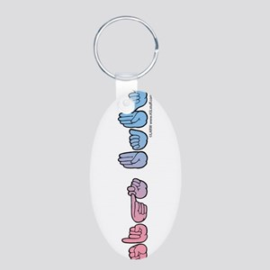 PinkBlue SIGN BABY Aluminum Oval Keychain