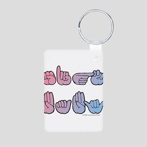 PinkBlue SIGN BABY SQ Aluminum Photo Keychain