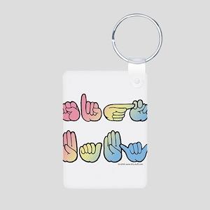 Pastel SIGN BABY SQ Aluminum Photo Keychain