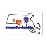 ILY Massachusetts Car Magnet 20 x 12