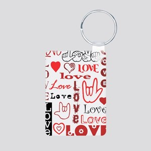 Love WordsHearts Aluminum Photo Keychain