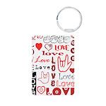 Love WordsHearts Aluminum Photo Keychain
