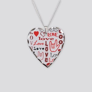 Love WordsHearts Necklace Heart Charm