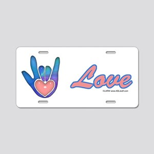 Blue Glass Love Hand Aluminum License Plate