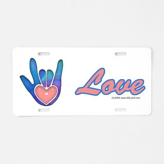 Blue Glass Love Hand Aluminum License Plate