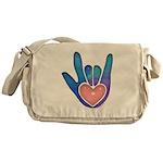 Blue/Pink Glass ILY Hand Messenger Bag