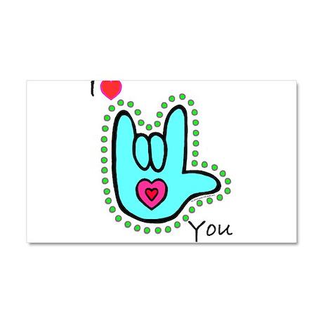 Aqua Bold I-Love-You Car Magnet 20 x 12