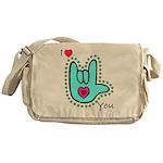 Aqua Bold I-Love-You Messenger Bag
