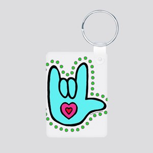 Aqua Bold Love Hand Aluminum Photo Keychain