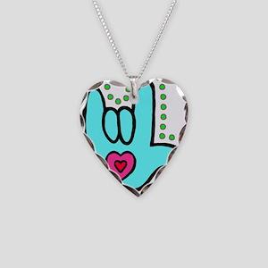 Aqua Bold Love Hand Necklace Heart Charm