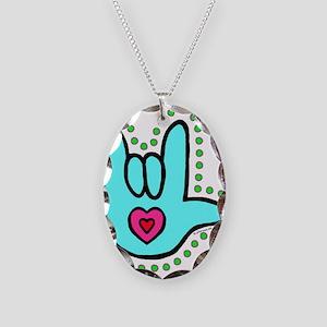 Aqua Bold Love Hand Necklace Oval Charm