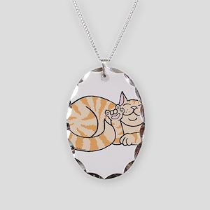 OrangeTabby ASL Kitty Necklace Oval Charm