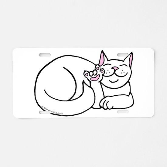 White ASL Kitty Aluminum License Plate