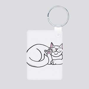 White ASL Kitty Aluminum Photo Keychain