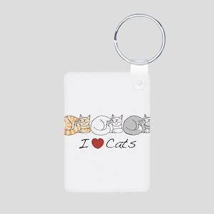 I Heart Cats Aluminum Photo Keychain