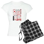 Love WordsHearts Women's Light Pajamas