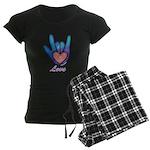 Blue Glass Love Hand Women's Dark Pajamas