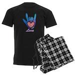 Blue Glass Love Hand Men's Dark Pajamas